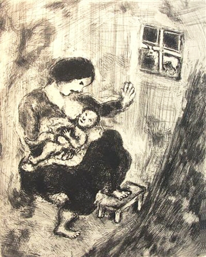 'Mother and Child and wolf' etching by Chagall.
