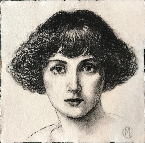 Charcoal drawing of Bella, by Marina Elphick, 2019. Bella Chagall, wife and muse of the artist. Nee Bella Rosenfeld.