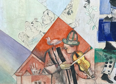 Detail of the Violinist from panel for the 'Introduction to the Jewish Theatre' , Marc Chagall, 1920.