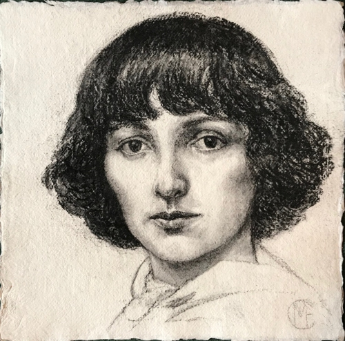 Drawing of young Bella by Marina Elphick, 2019. Bella Rosenfeld, becoming Bella Chagall, wife and eternal muse of Marc Chagall.