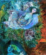 Floating Bella muse, Chagall's eternal love and inspiration, made by Marina Elphick in soft sculpted form, as one of Marina's muses. Bella Rosenfeld, Bella Chagall.