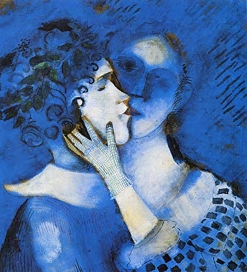 Lovers in Blue, Marc Chagall 1914. Bella Rosenfeld, Bella Chagall.