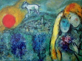 'Lovers of Vence', by Marc Chagall, 1957. Bella Rosenfeld, Bella Chagall.
