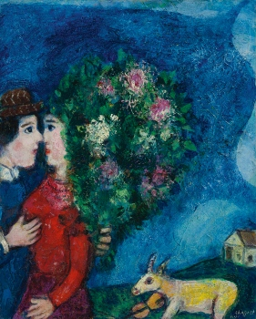 Les Amoureux au Bouquet, by Marc Chagall. Bella Rosenfeld, Bella Chagall.