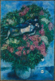 'Lovers Among Lilacs', by Marc Chagall, 1930. Bella Rosenfeld, Bella Chagall.