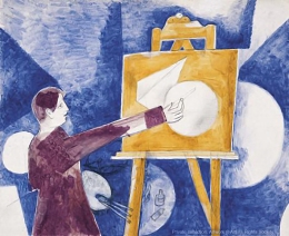 Marc Chagall, Self-Portrait with Easel, 1919. Gouache on paper.