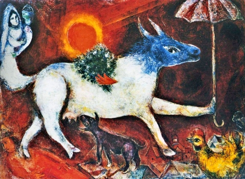 'A Cow with a Parasol' by Marc Chagall 1946.