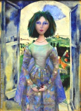 Bella muse, Chagall's wife and eternal love and inspiration, made by Marina Elphick in soft sculpted form, as one of Marina's muses. Bella Rosenfeld, Bella Chagall.