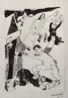 The Pogrom, 1931, pen and ink on paper, by Chagall.
