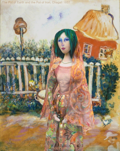 Bella by the house, in 'The Pot of Earth and the Pot of Iron', 1937, Marc Chagall, gouache on paper. Bella muse, Chagall's wife and eternal love and inspiration, made by Marina Elphick in soft sculpted form, as one of Marina's muses. Bella Rosenfeld, Bella Chagall.