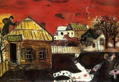 Vitebsk, village scene, Chagall 1917.