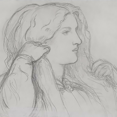 Fanny Cornforth Arranging her hair, pencil sketch by Dante Gabriel Rossetti, 1860.