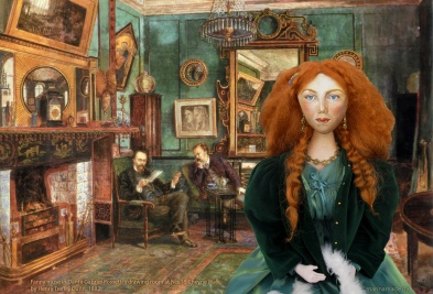Fanny Cornforth, art muse, soft sculpted figurine.
