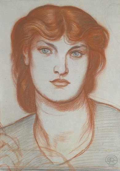 Chalk pastel study of Alexa Wilding, Rossetti 1865.