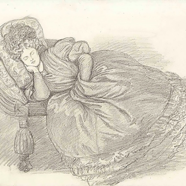 Study of Fanny Cornforth, asleep on a chaise-longue, 1862. Dante Gabriel Rossetti.