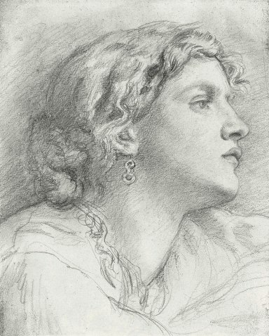 Pencil study of Fanny Cornforth, by Rossetti, 1865.