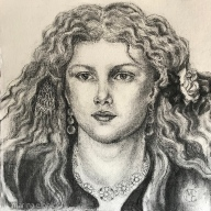 An original charcoal drawing of Fanny Cornforth, by Marina Elphick, 2019.