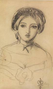 Sketch of Euphemia Gray, c.1854 by John Everett Millais.