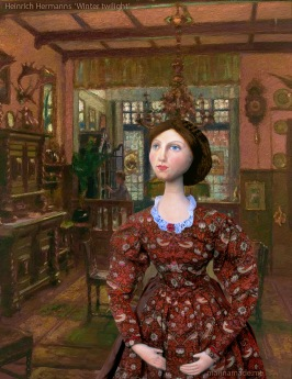 A young Effie at home in Bowerswell, in 'winter twilight', a painting by H. Hermans.