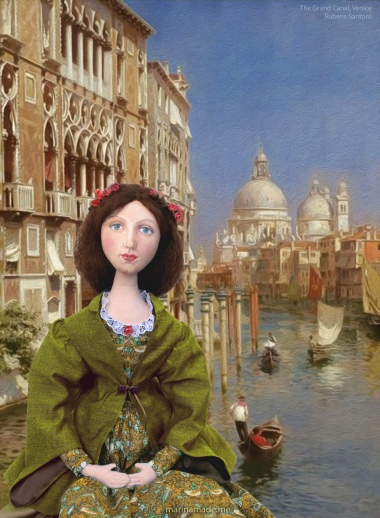 Effie by The Grand Canal, Venice, set in a painting by Rubens Santoro.