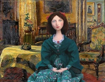 Effie imagined in the Parlour at Bowerswell. She is set in the painting by Marie Wilhelmine Falsen, 'Interior'.