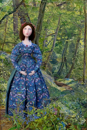 Effie exploring the woods at the Trossachs. 'Mid Spring', by John William Inchbold, c 1856.