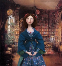 Effie Ruskin in the library of the old Ruskin's home in Denmark Hill. The muse is set in 'The Library', a painting by Harriet Backer.