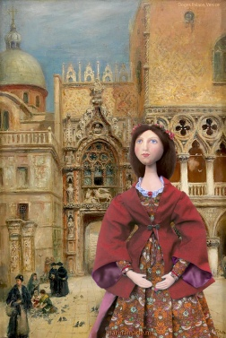 Effie in St Marks Square, by the Doges palace Venice. Artist unknown.