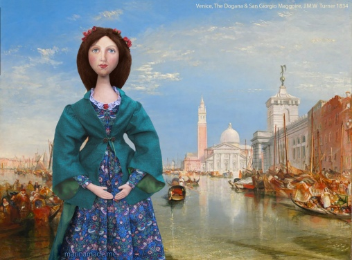 Muse of Effie in Venice, set in J.M.W. Turner's, 'The Dogana and San Giorgio Maggiore', 1834.
