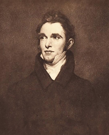 Print of a portrait of Ruskin's father, John James Ruskin, by James Northcote c. 1843.