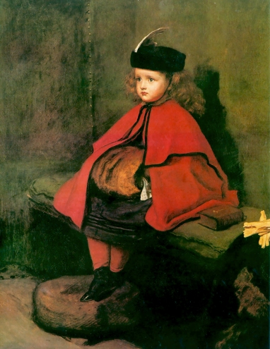 'My First Sermon', by Millais, 1863. Here is Millais' four year old daughter Euphemia, dressed for church, patiently sitting still for her father.
