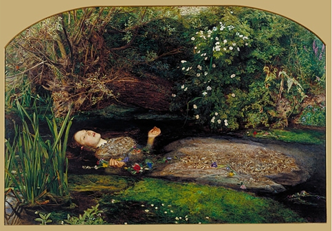 'Ophelia', 1851-2, by John Everett Millais, famously modelled by Elizabeth Siddal.