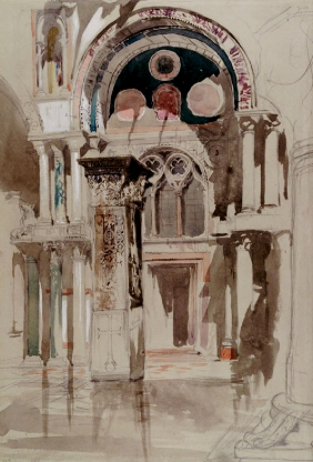 Ruskin's sketch in watercolour of part of Saint Mark's Basilica, Venice, after Rain.