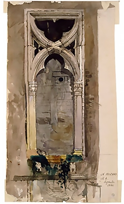 Detail of window in the Foscari Palace, Venice. Watercolour by Ruskin, 1845.