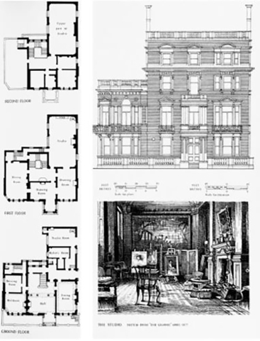 Plans for 2 Palace Gate, Kensington, the Millais family's new house by Kensington Gardens.
