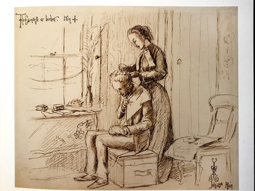 'Countess' as Barber, drawing by Millais , July 1853.