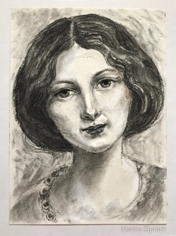 Charcoal study of Effie Gray as a young woman. Marina Elphick 2020.