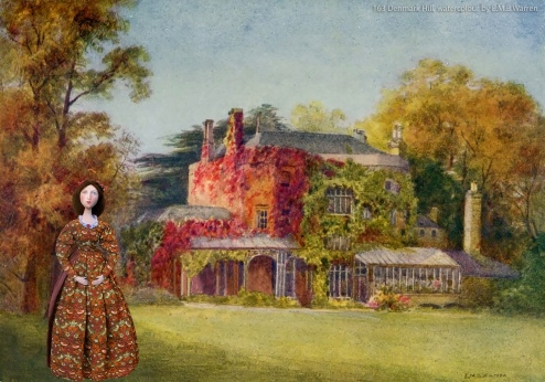 Effie muse at 163 Denmark Hill, he house that Ruskin's parents moved to. Watercolour by E.M.B.Warren.
