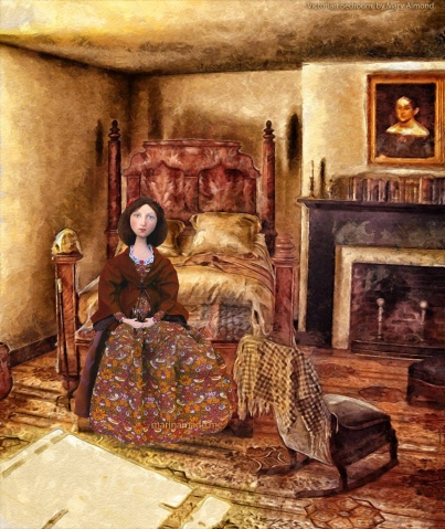 Effie in 'Victorian bedroom', (imagined at the Inn on her first wedding night.) painting by Mary Almond
