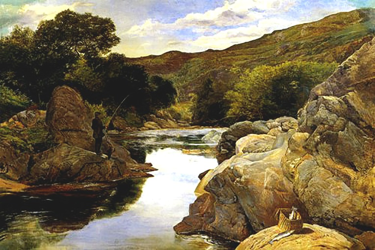 'Glenfinlas with Millais fishing', painted by William Millais, Everett's brother, 1853.