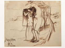 Highland Shelter, drawing on paper by Millais, July 1853.