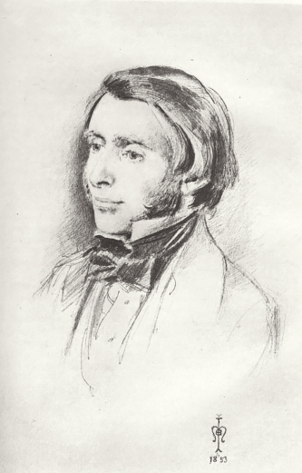 Head study of John Ruskin, pencil, by John Everett Millais, 1853.