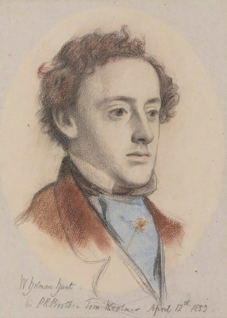 Portrait of John Everett Millais, by William Holman Hunt, chalk, 1853.