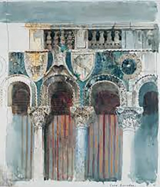Study of the Marble Inlaying on the Front of the Casa Loredan, Venice, by John Ruskin.