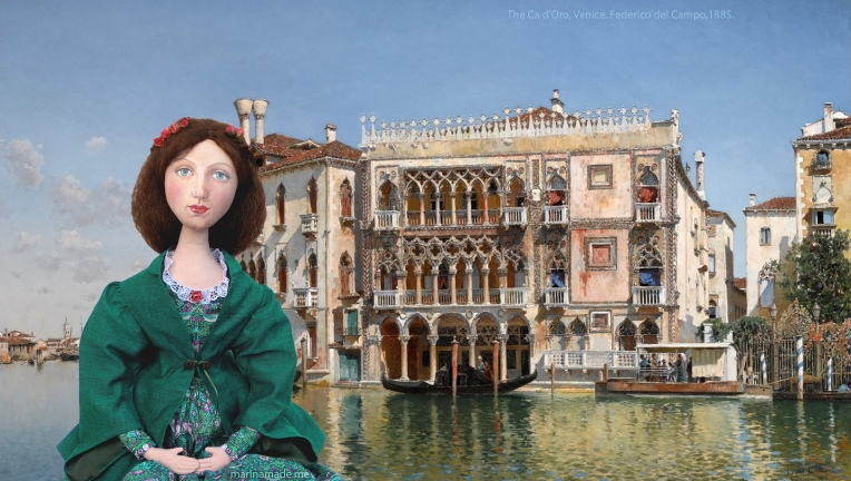 Effie in Venice, The Ca d'Oro, a painting by Federico del Campo, 1885.