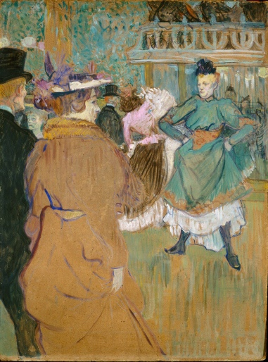 The Moulin Rouge, showing back view of Jane Avril, Henri de Toulouse-Lautrec.