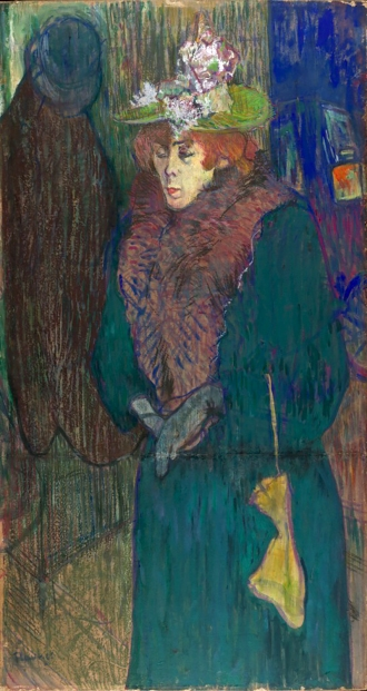 Jane Avril leaving the Moulin Rouge, Henri de Toulouse-Lautrec, 1892.