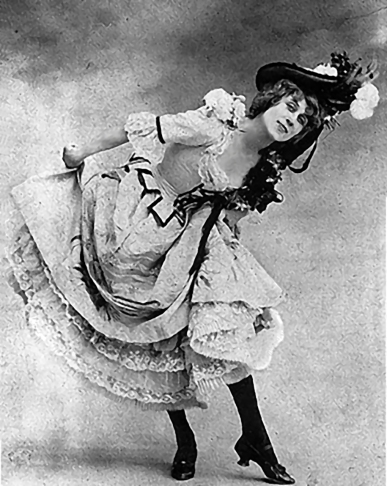 Jane Avril in costume, copy of a photograph, 1892.