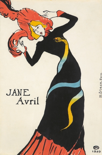 Poster design for Jane Avril, by Henri de Toulouse-Lautrec, 1899.