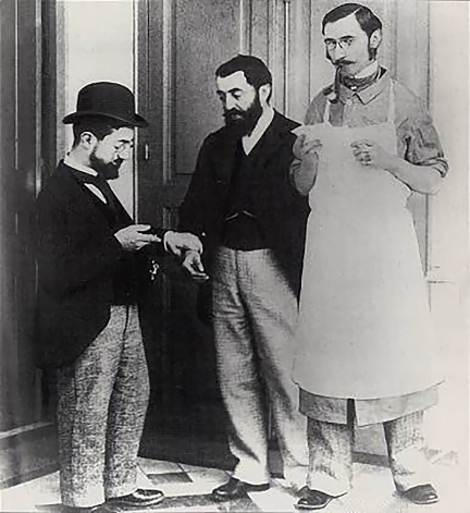 Toulouse-Lautrec and his cousin and Dr Tapie, 1894.